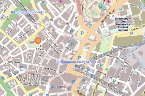Birmingham on open street map